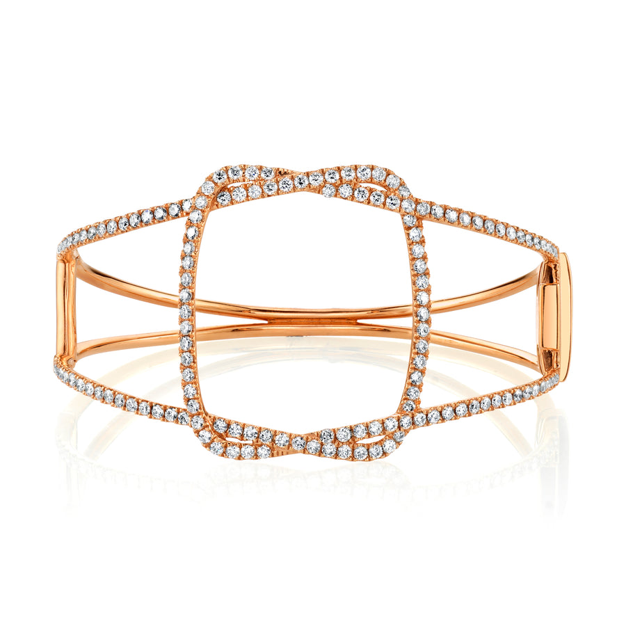 Interwoven Rose Gold & Diamond Bangle