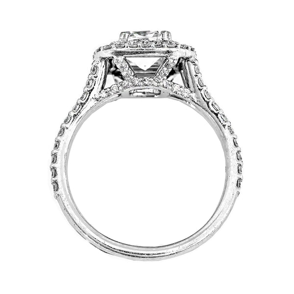 1.38 CTTW. Cushion Cut Double Halo Ring
