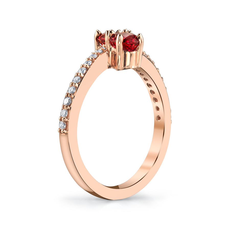 Red Spinel Two-Stone Ring