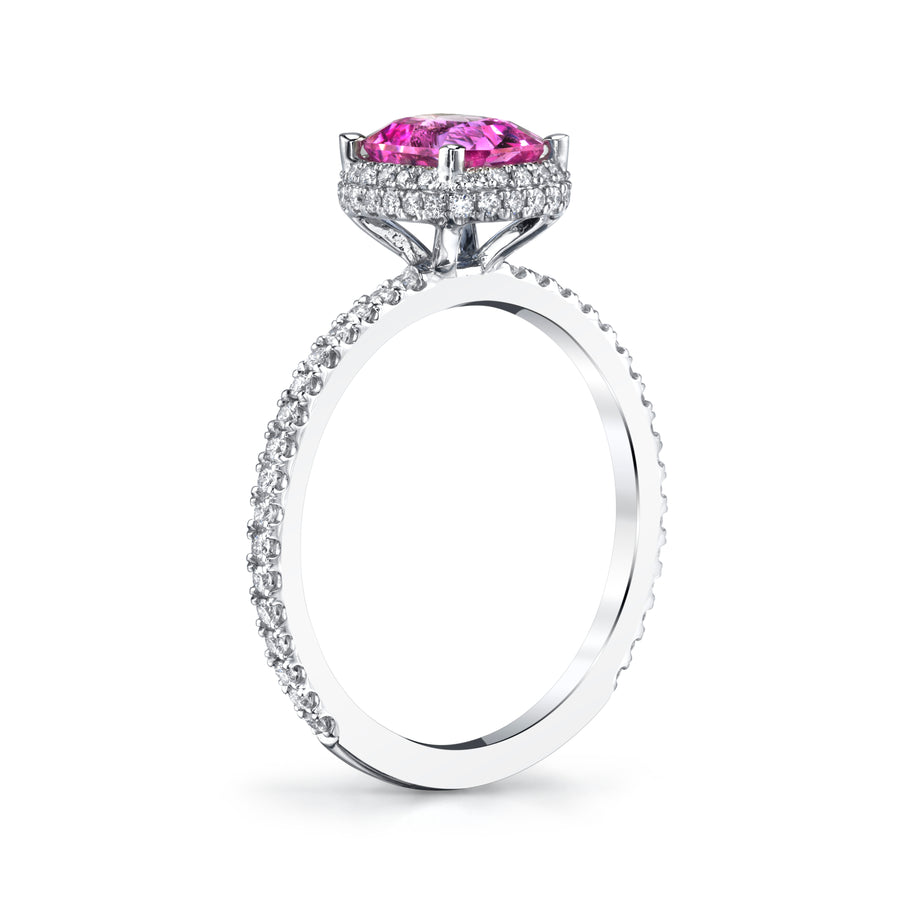 Side View Pink Sapphire Diamond Engagement Ring