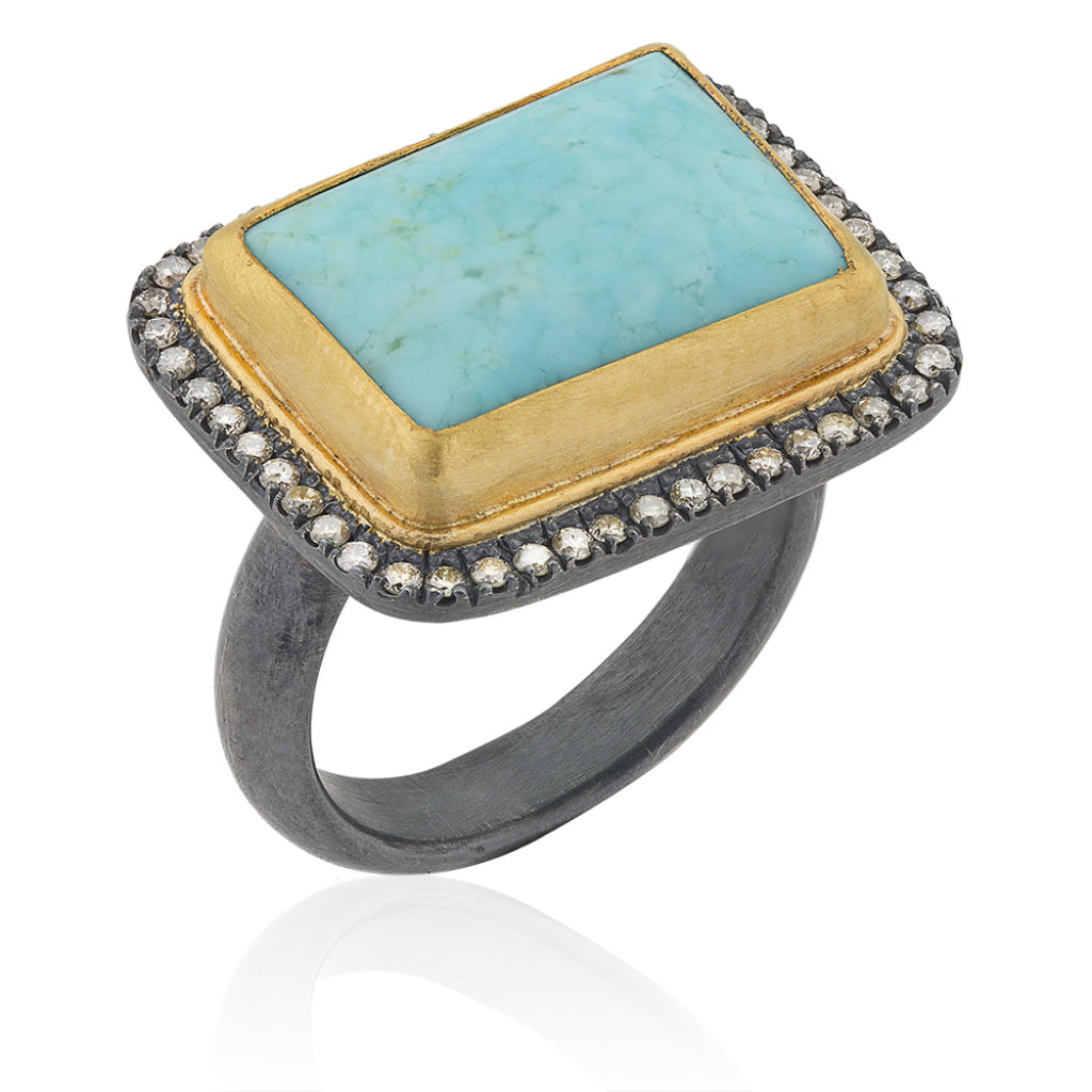 Spectacular Kingman Turquoise Ring in sterling silver Size 6 Ready to Ship