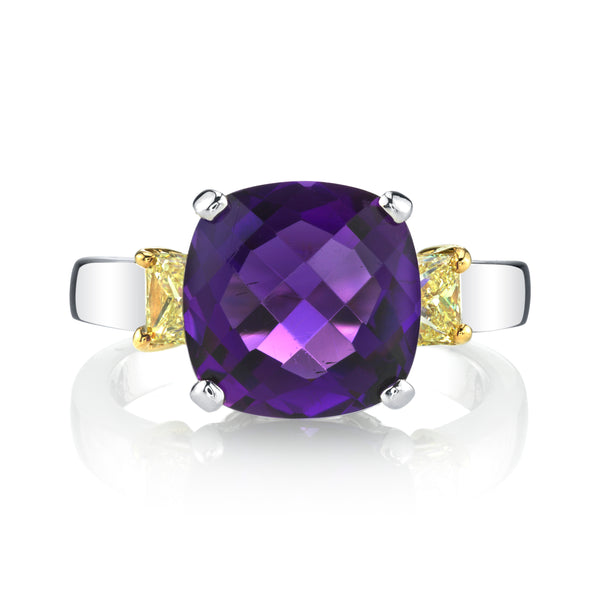 Amethyst & Yellow Diamond Ring