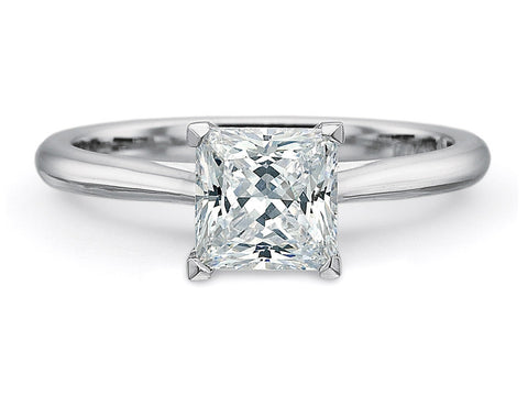 Princess Cut Platinum Solitaire Ring