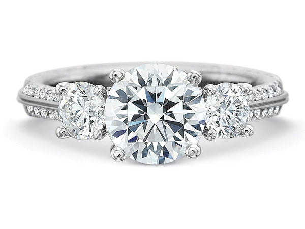 White Gold & Platinum Diamond Three-Stone Engagement Ring