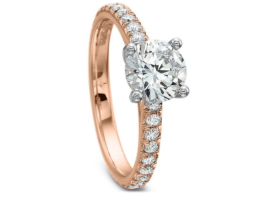Rose Gold Petite Diamond Engagement Ring