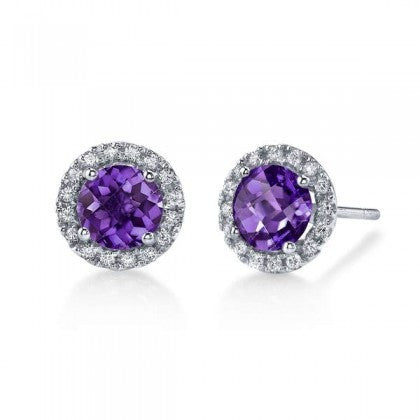 Purple Amethyst Earrings with Diamonds