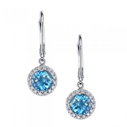 London Blue Topaz Earrings with Diamonds