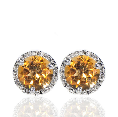 Gold Citrine and Diamond Stud Earrings