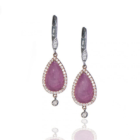 Pink Sapphire Earrings with Diamonds