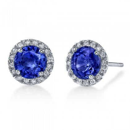 Blue Sapphire Diamond Halo Earrings