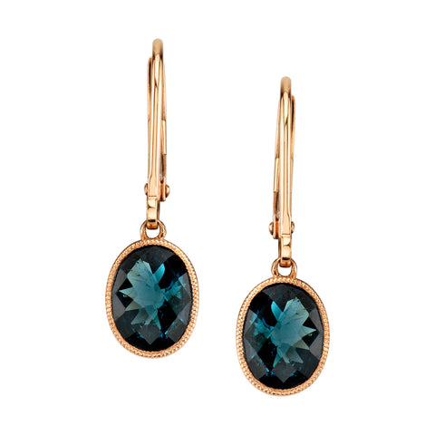 Oval London Blue Topaz Earrings