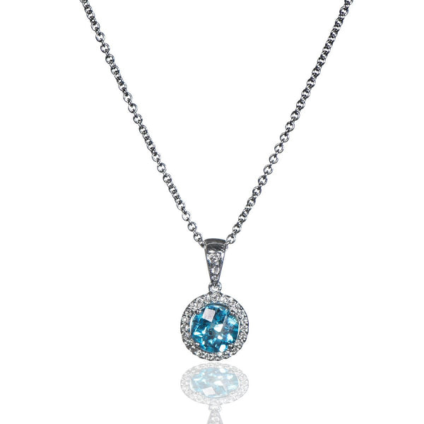 14K White Gold, Diamond, and Blue Topaz Pendant Necklace