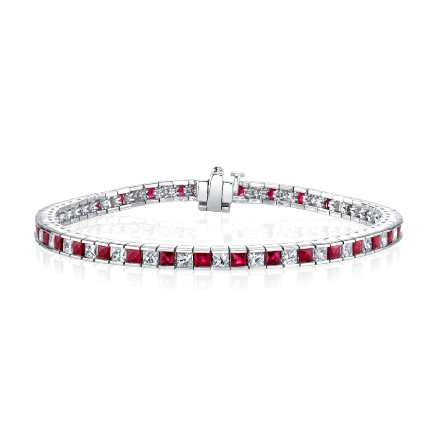 Ruby & Diamond Tennis Bracelet