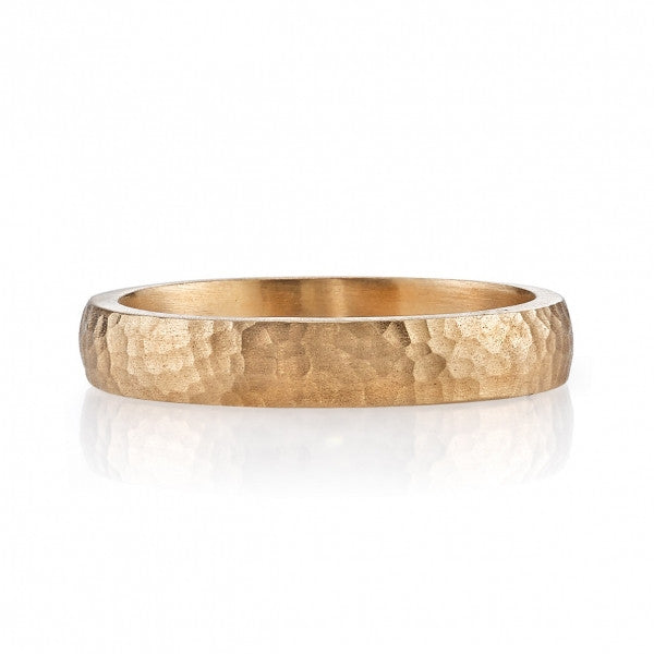 Hammered Rose Gold Mens Weddding Band