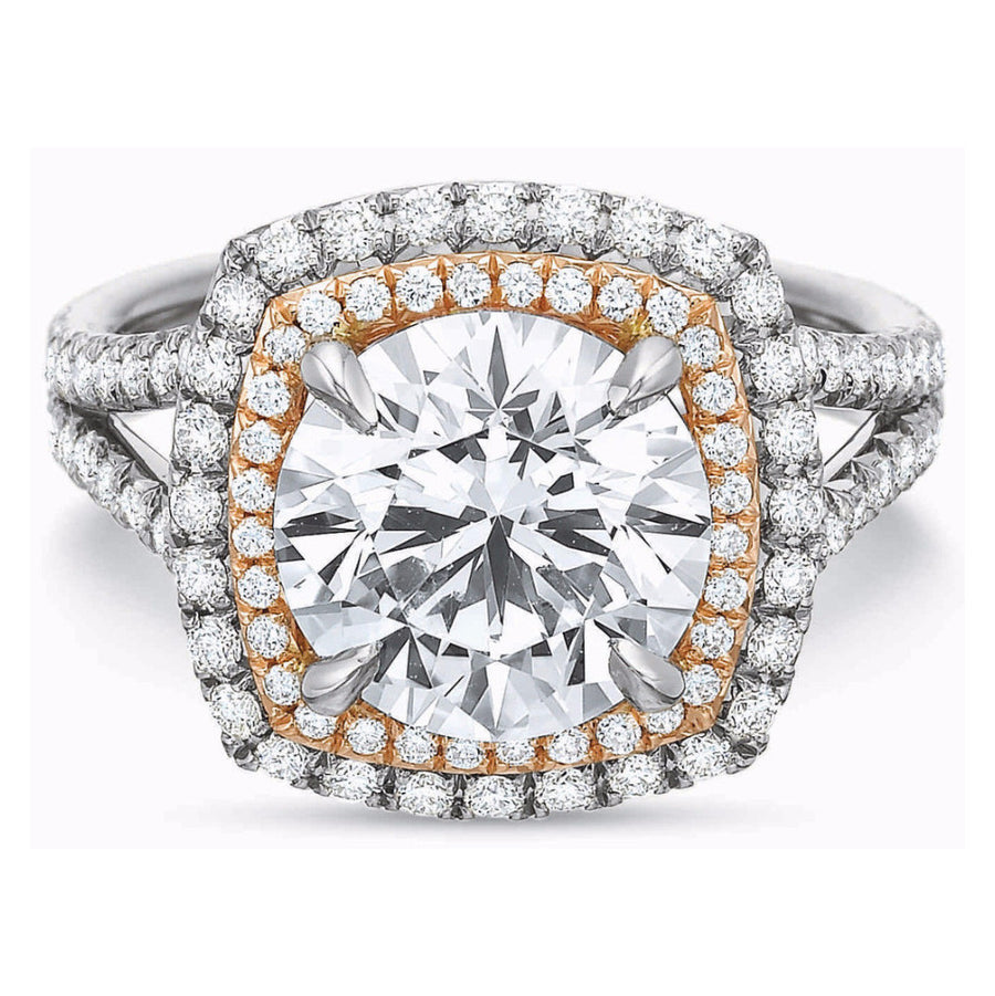 Harold Stevens Platinum & Rose Gold Double Diamond Halo Ring