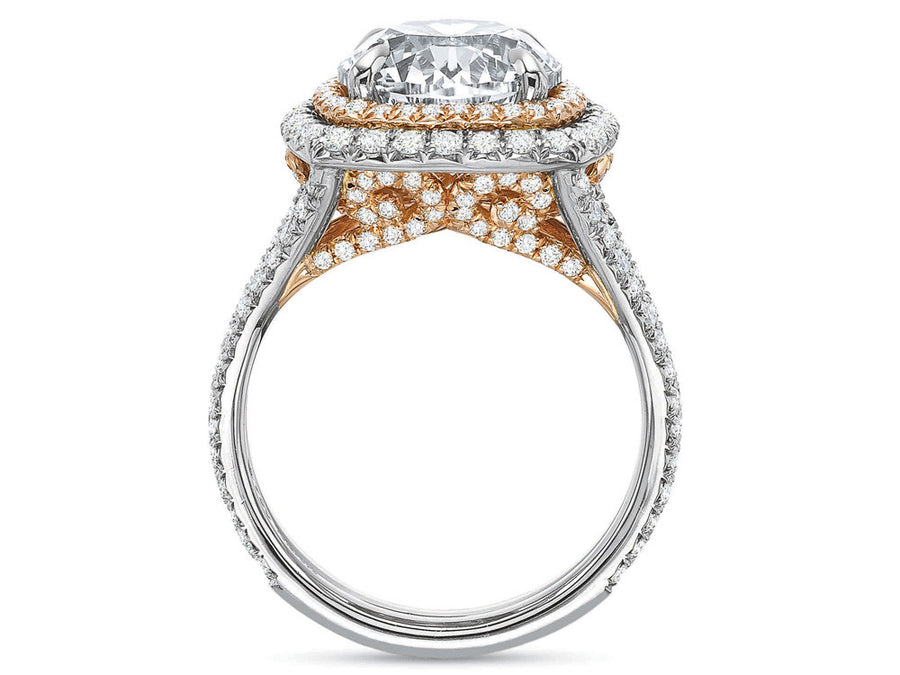 Platinum & Rose Gold Double Diamond Halo