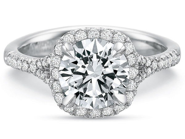 White Gold Split Shank Pave Diamond Engagement Ring