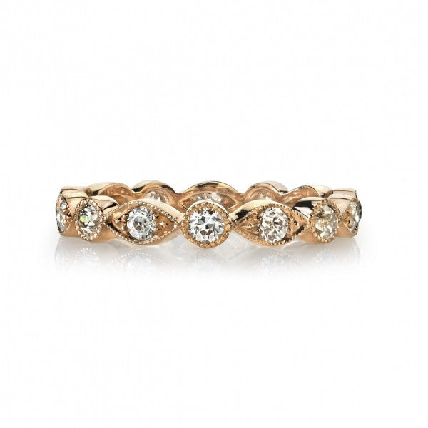 Single Stone Vintage Inspired Rose Gold Wedding Band