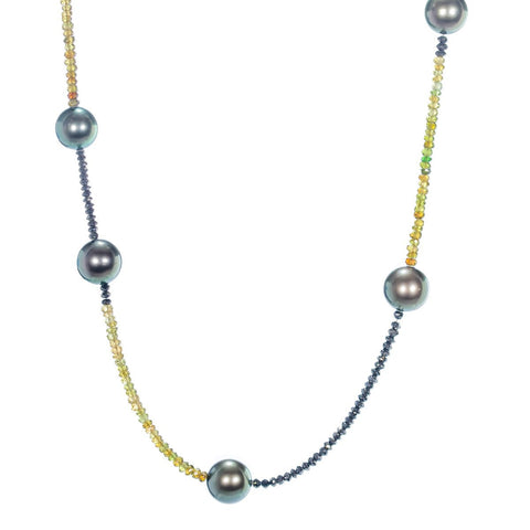 Tahitian Pearl, Black Diamond, and Green Tourmaline Necklace by Gellner