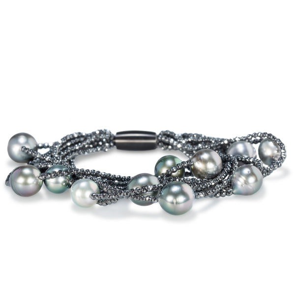 Multi-Layer Hematite & Tahitian Pearl Bracelet by Gellner