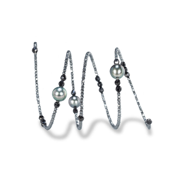 Flexible Black Spinel Beads & Tahitian Pearl Bracelet
