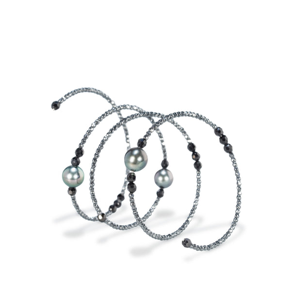 Flexible Black Spinel Beads & Tahitian Pearl Bracelet by Gellner