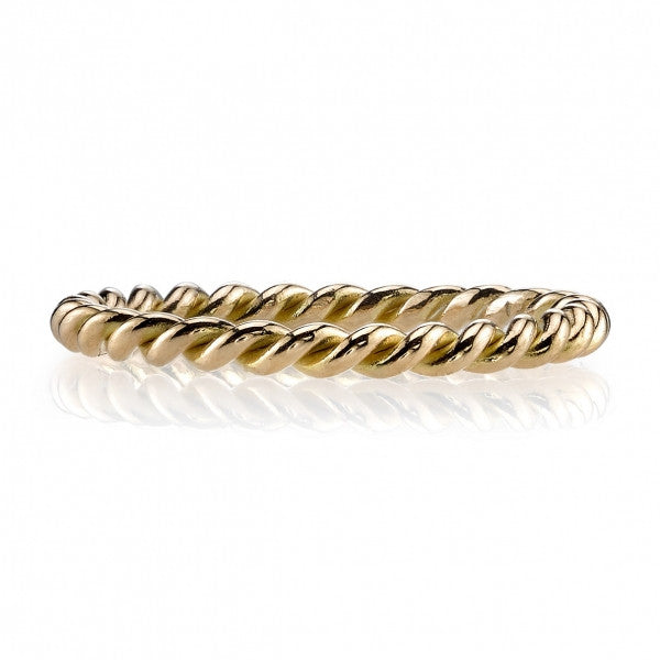 Twisted Cable Gold Stackable Rings