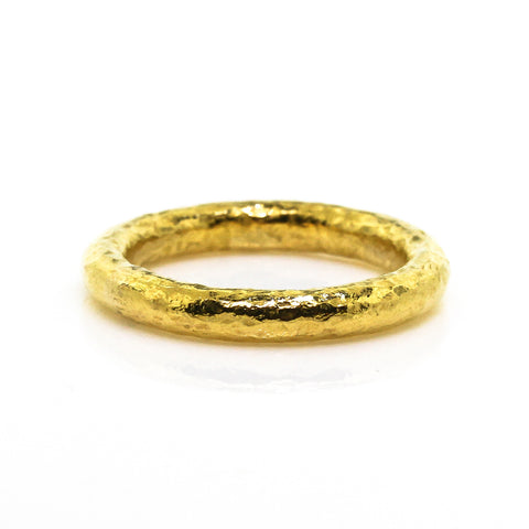 Women's Hammered finished 24k yellow gold stackable ring.