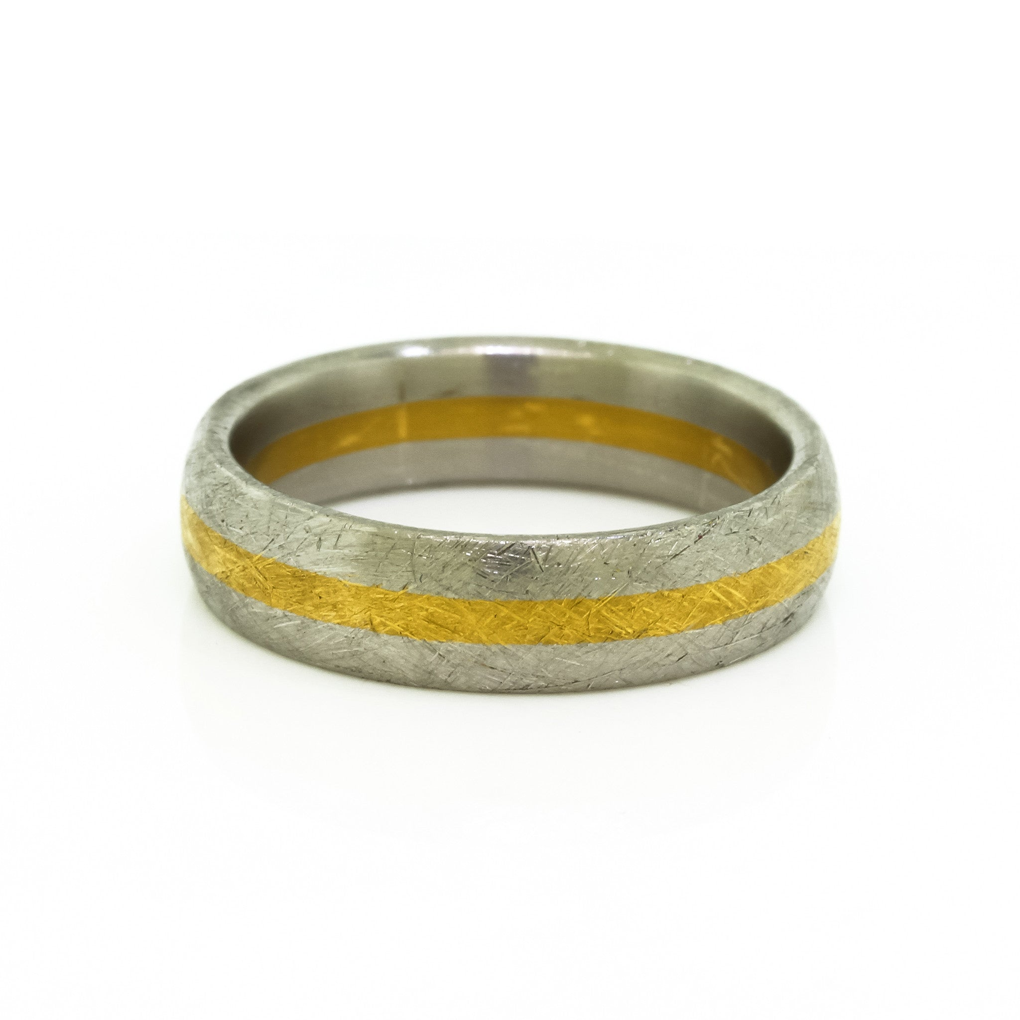 Textured Platinum & Gold Men's Wedding Band