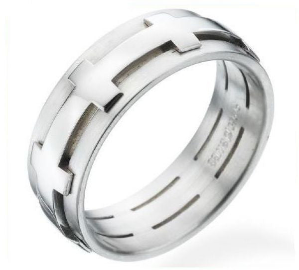 Men's 18K White Gold & Palladium Wedding Ring