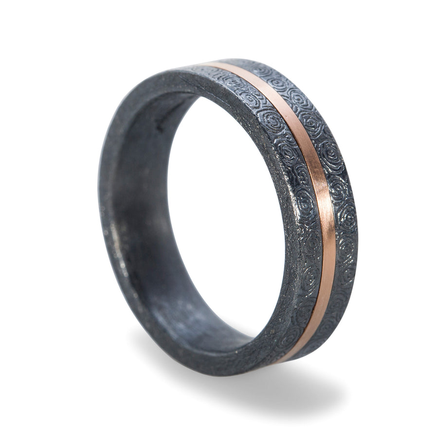 Rose Gold and Oxidized Silver Men's Wedding Ring