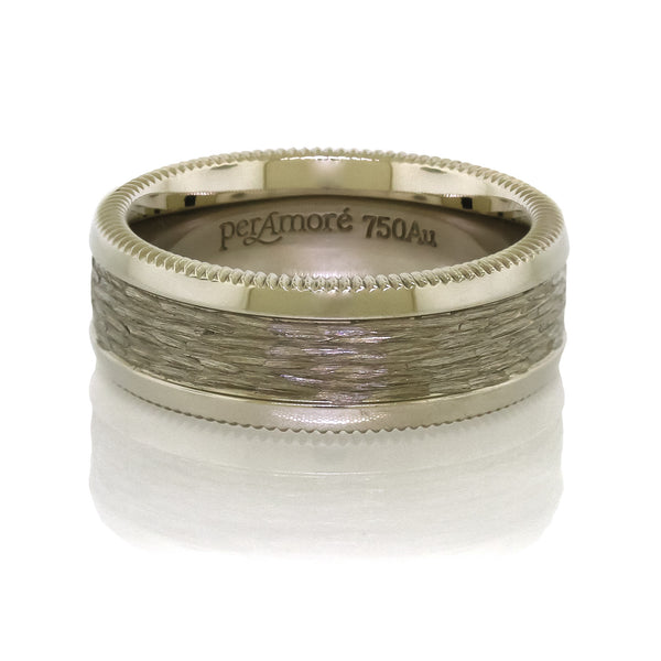 Per Amore 8mm. Bark Finished Wedding Band