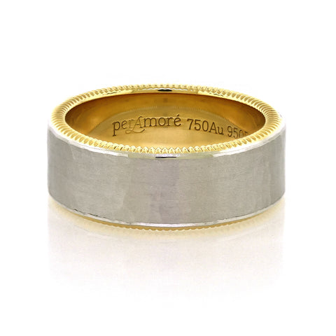 8mm Per Amore Hammered Platinum & Yellow Gold Wedding Band