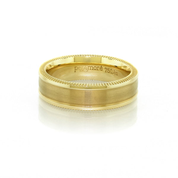 Per Amore Quoin Edge Gold Wedding Band