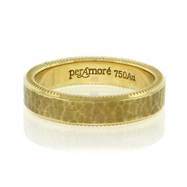 Per Amore Hammered Gold Wedding Band