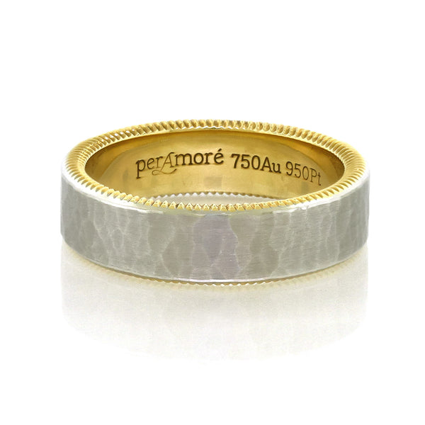 Per Amore 6mm. Hammered Platinum & Gold Wedding Band