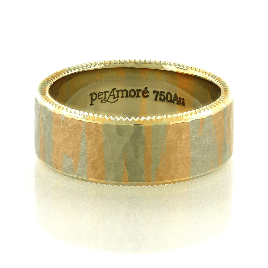 Per Amore 8mm Red & White Marble Gold Wedding Band