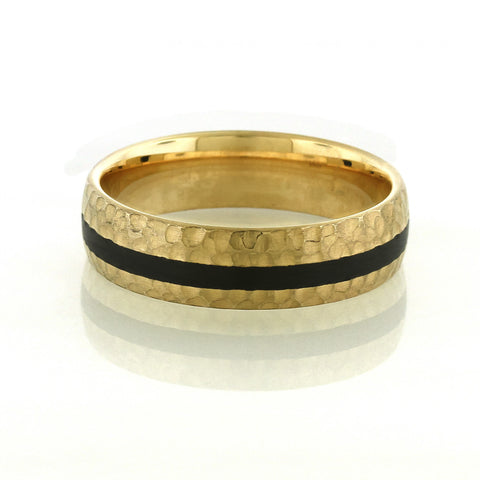 Hammered Gold and Black Carbon Fiber Men's Wedding Ring