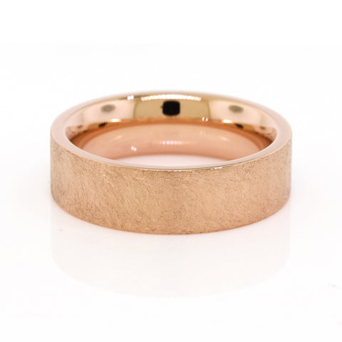 Heavy Textured Rose Gold Men's Wedding Band