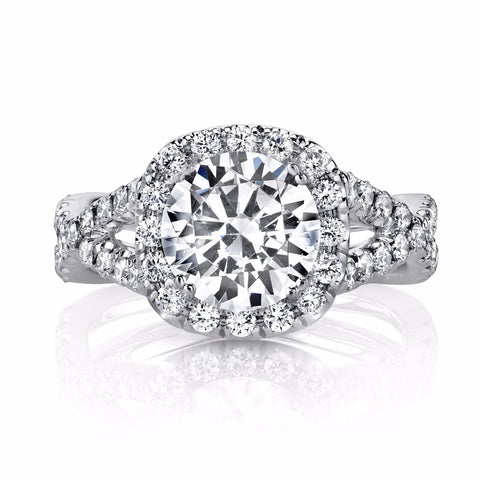 Twisted Micro Pave Diamond Engagement Ring