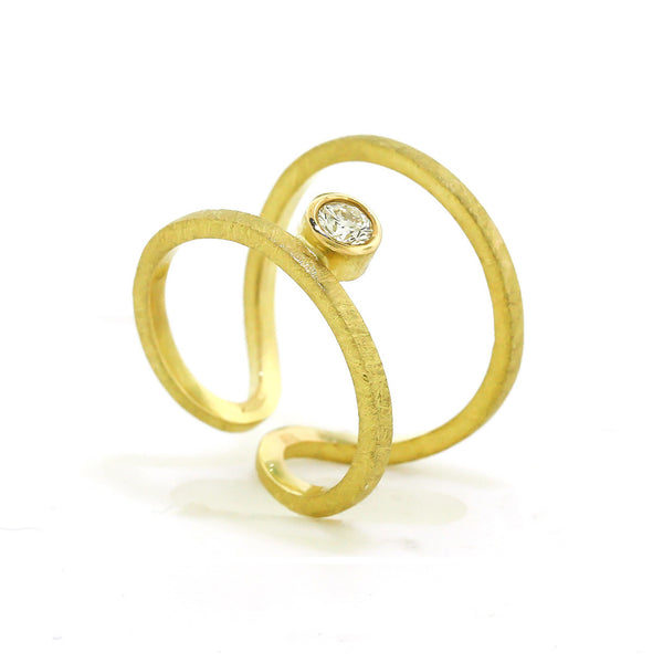 Satin Textured Yellow Gold Diamond Ring by Majoral