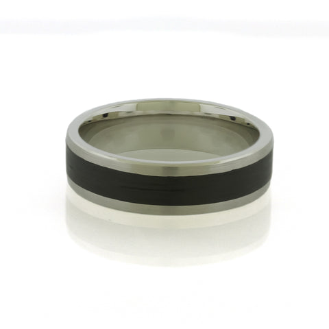 Black Carbon Fiber & Palladium Mens Ring