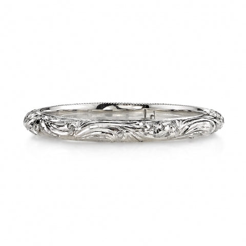 Single Stone Engraved Wedding Band
