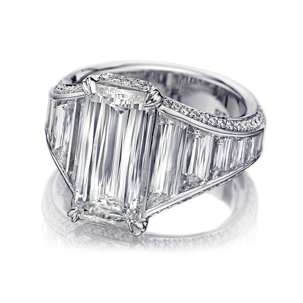 Platinum Crisscut Emerald Shaped Diamond Ring by Christopher Designs