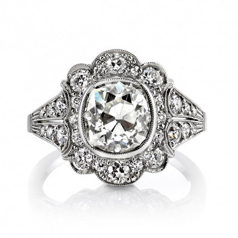Vintage Cushion Cut Diamond Close Up
