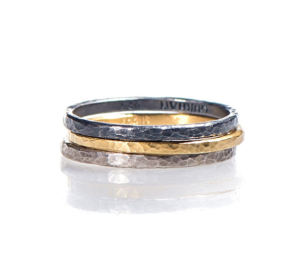 Hammered Tri-Color Stackable Rings