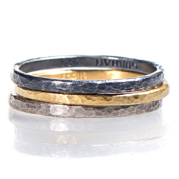 Hammered Finished Tri-Color Stackable Rings