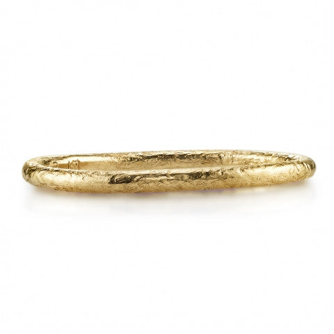 Textured Yellow Gold Band by Single Stone