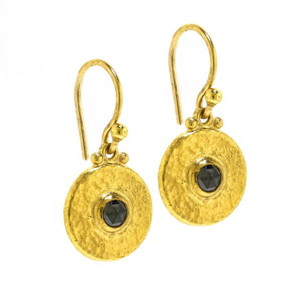 Hammered Yellow Gold Black Diamond Earrings by Gurhan