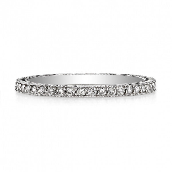 Vintage Inspired Wedding Band Hand-crafted in Platinum by Single Stone